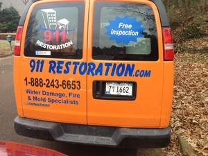 Water Damage Gonzales Rear Of Van At Residential Job